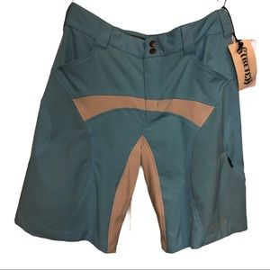 NWOT Oakley's women biking blue shorts padded Sz S